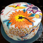 Painted cake peacock and flowers